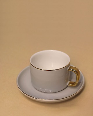 Coffee cup set_gold line